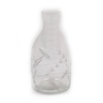 Small Clear Vase with Etched Silver Leaf Design - 3 x 3 x 6 inches - Jodhshop
