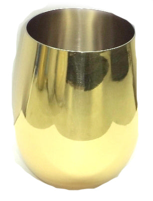Stemless Wine Glass Shiny Gold Stainless Steel - 18 oz - Jodhshop