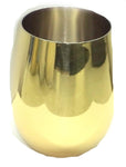 Stemless Wine Glass Gold Stainless Steel Double Wall - 16 oz - Jodhpuri Online