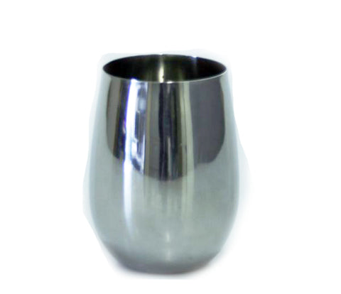 Stemless Wine Glass Shiny Stainless Steel - 18 oz - Jodhpuri Online