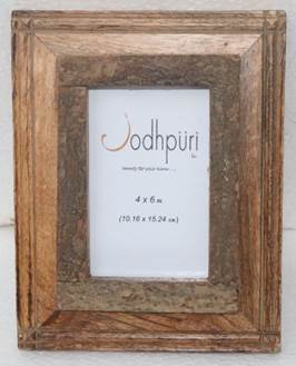 Wooden Frame with Inner Bark Edge Picture Frame - 4 x 6 inches - Jodhshop