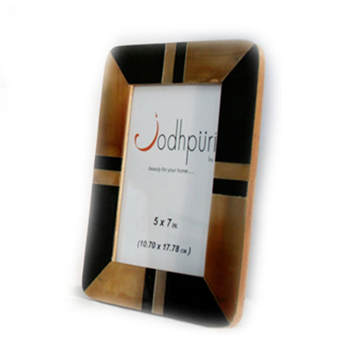 Horn Picture Frame with Black Strip - 4 x 6 inches - Jodhshop