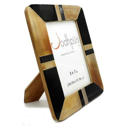 Brown Patch with Black Horn Strip Picture Frame - 5 x 7 inches - Jodhshop