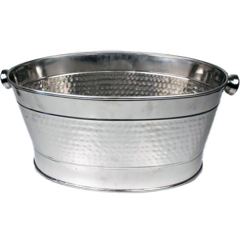 Hammered Stainless Steel Party Tub - 28 x 14 x 10 inches - Jodhshop