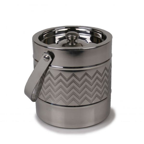 Stainless Steel Ice Bucket with Etched Chevron Accent - 2 Liter Capacity - Jodhshop