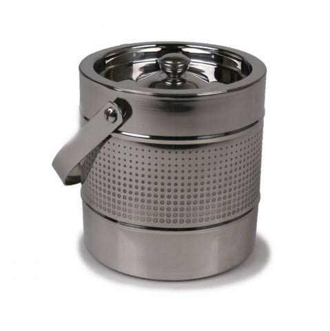 Stainless Steel Ice Bucket with Etched Dots Accent - 2 Liter Capacity - Jodhpuri Online