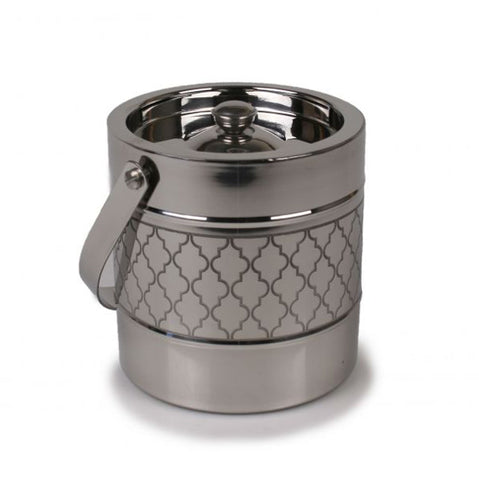 Stainless Steel Ice Bucket with Etched Quatrefoil Accents - 2 Liter Capacity - Jodhshop