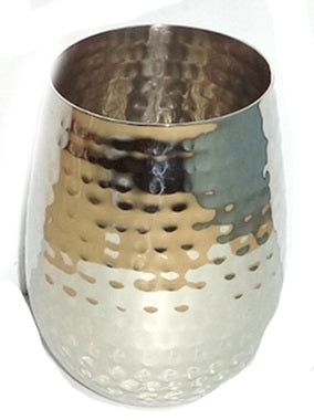 Stemless Wine Glass Hammered Stainless Steel Double Wall - 16 oz - Jodhpuri Online