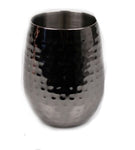 Stemless Wine Glass Black Hammered Stainless Double Wall - 16 oz - Jodhshop