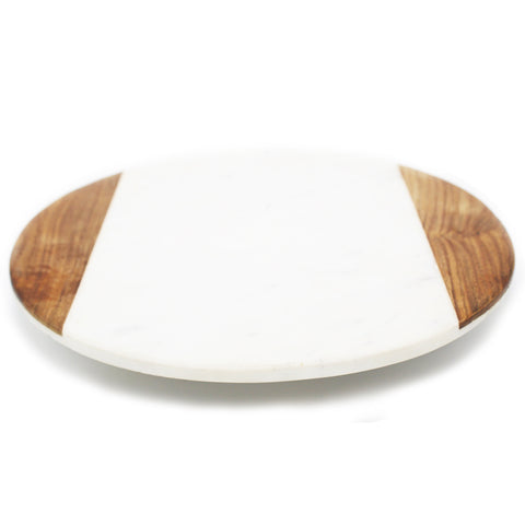 White Marble and Wood Lazy Susan - 12 x 12 inches