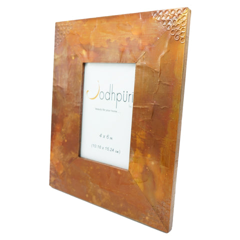 Copper Picture Frame with Hammered Corners - 4 x 6 inches - Jodhpuri Online