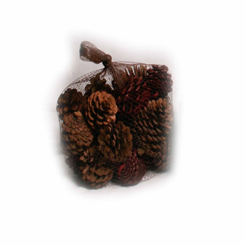 Cranberry Scented Natural and Red Pine Cones in Net - 20 ounces - Jodhshop