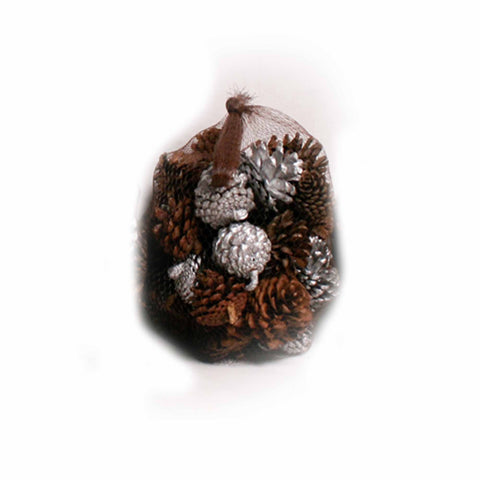 Pine Frost Scented Silver/Natural Pine Cones in Net - 20 ounces - Jodhshop