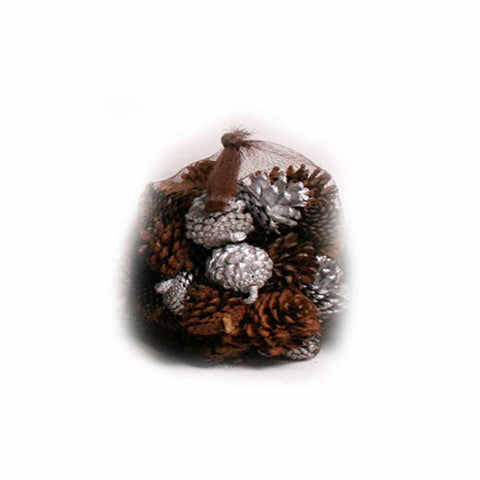 Silver and Natural Pine Cones in Net - 20 ounces - Jodhshop