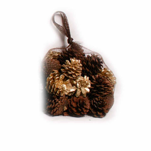 Gold and Natural Pine Cones in Net - 20 oz - Jodhshop