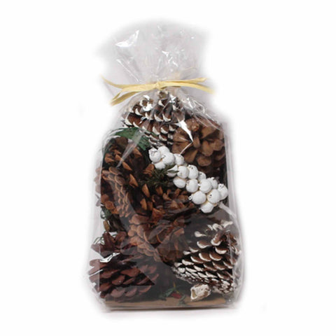 Pine Fir Scented Frosted/Natural Pine Cones - 8 ounces - Jodhshop