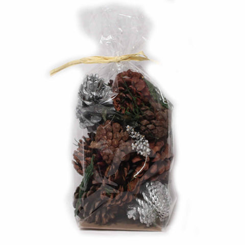Holiday Cider Scented Silver/Natural Pine Cones - 8 ounces - Jodhshop
