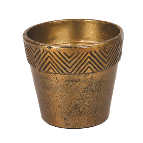 Gold Aluminum Pot with Chevron Border - Small - Jodhshop