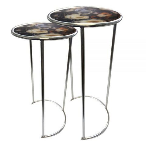 Black Agate Nesting Tables - 12 x 23 inches - Jodhshop