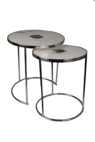 White Marble with Blue Agate Center Nesting Tables - Jodhshop