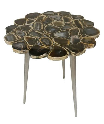 Black Agate Flower Cut Table with Gold Foil - 16 x 24 inches - Jodhpuri Online