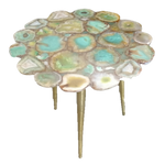 Aqua Agate Flower Cut Table - 16 x 21 inches - Jodhpuri Online