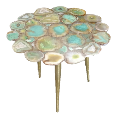 Aqua Agate Flower Cut Table - 16 x 21 inches - Jodhshop