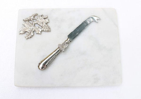 White Marble with Silver Grape Leaf Cheese Board with Knife - 10 x 7.75 inches - Jodhshop