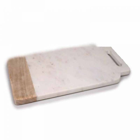 White Marble & Wood Cheese Board with Handle - 18 x 9 inches - Jodhpuri Online