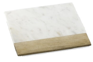 White Marble & Wood Cheese Board - 13 x 13 inches