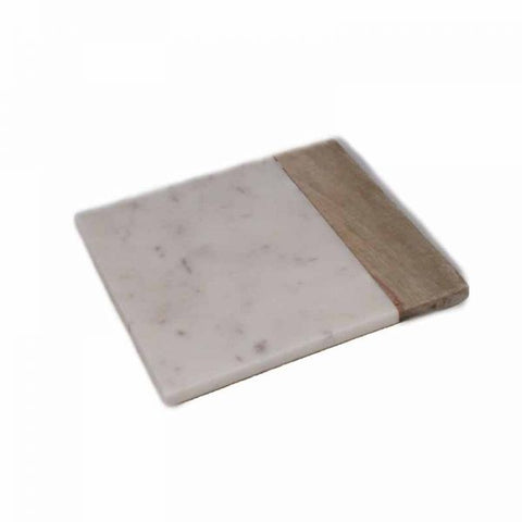 White Marble and Wood Cheese Board - 8 x 8 inches - Jodhshop