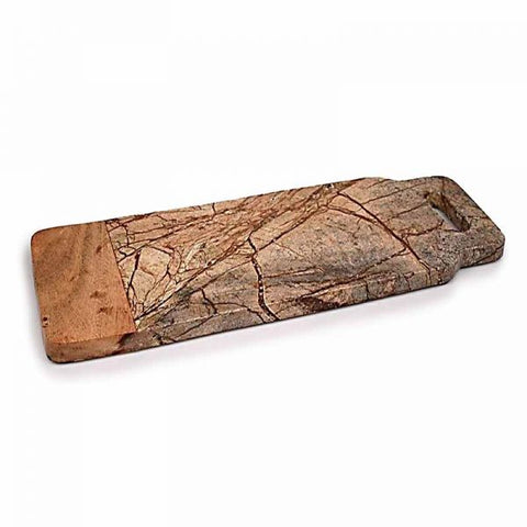 Brown Forest Marble and Wood Cheese Board with Handle - 18 x 6 inches - Jodhshop