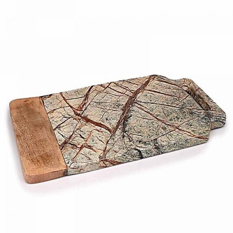 Brown Forest Marble and Wood Cheese Board - 18 x 9 inches - Jodhpuri Online