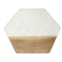 Marble/Wood Hexagonal Serving Board - 12 x 12 x .5 inches - Jodhshop