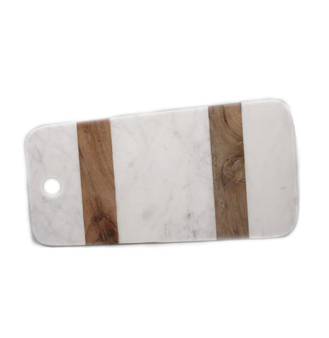 White Marble and Wood Long Board - 18 x 17 x 0.5 inches - Jodhshop