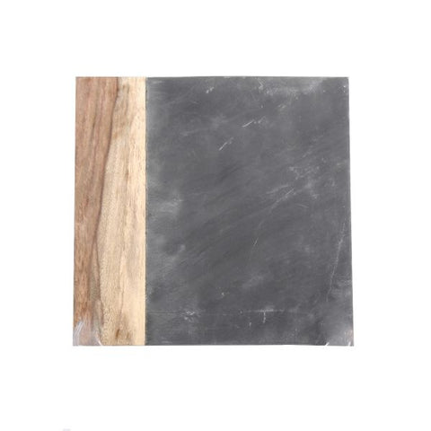 Black Marble and Dark Wood Square Cheese Board - 8 x 8 inches - Jodhshop
