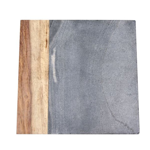 Grey Marble and Dark Wood Cheese Board - 8 x 8 inches - Jodhshop