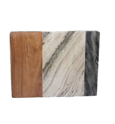 Brown and Grey Marble with Wood Paddle Board - 12 x 10 x 0.5 inches - Jodhpuri Online