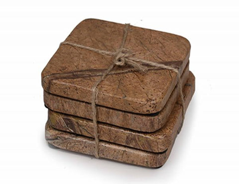 50000: Brown Forest Marble Square Coasters - Set of 4 - Jodhshop