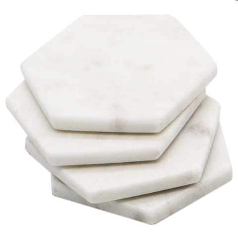 50007: White Marble Hexagon Coasters - Set of 4 - Jodhpuri Online