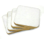 50060: White Marble Square Coasters with Gold Rim - Set of 4 - Jodhshop