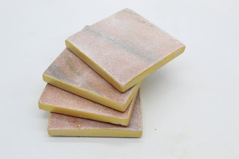 50062: Pink Marble Square Coasters with Gold Rim - Set of 4 - Jodhshop