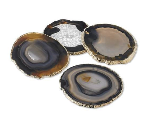 50409: Organic Shape Black Agate Coasters with Gold Foil - Set of 4 - Jodhshop