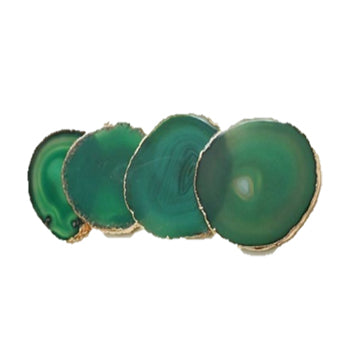 50436: Organic Shape Emerald Agate Coasters with Gold Foil - Set of 4 - Jodhshop