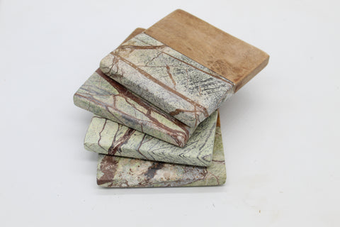 50465: Green Marble with Acacia Wood Square Coasters - Set of 4 - Jodhshop
