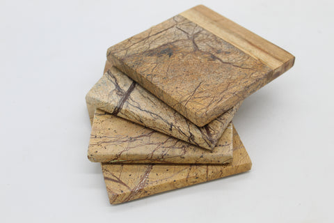 50466: Brown Forest Marble with Acacia Wood Square Coasters - Set of 4 - Jodhshop
