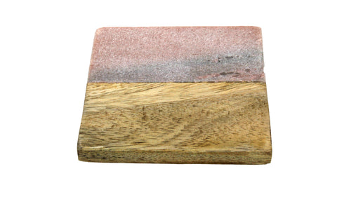 50468: Pink Marble with Wood Square Coasters - Set of 4 - Jodhshop