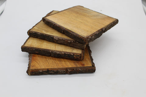 50804: Mango Wood Square Coasters with Bark Edge - Set of 4 - Jodhshop