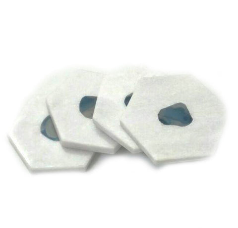 White Marble & Blue Agate Hexagon Coasters - Set of 4