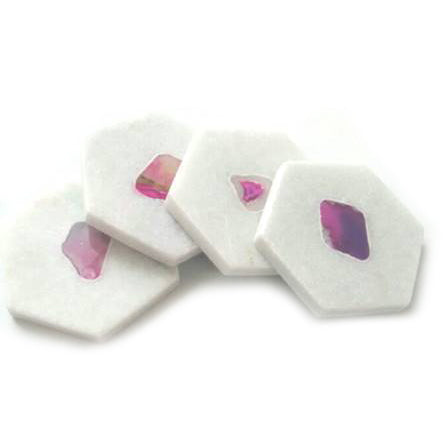 White Marble & Magenta Agate Hexagon Coasters - Set of 4